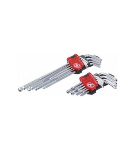 Winkelschlüssel-Satz | lang | T-Profil (für Torx) T10 - T50 / Innensechskant 1,5 - 10 mm | 18-tlg.